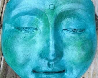 Blue Buddha, a Healing Tranquil Turquoise Meditative Indoor/Outdoor Sculpture, Cast Stone Spiritual Decor