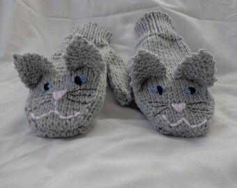 Grey Kitten Mittens-children's size small