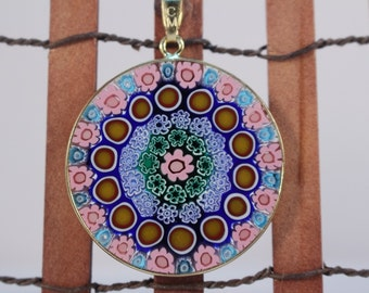 32mm Authentic Murano Glass Millefiori Pendant 24K Gold Plated Italian Sterling Silver - Pink Sapphire G1