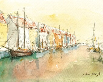 Copenhagen painting -Nyhavn Copenhagen Denmark -Cityscape Capital Europe - Denmark art - Watercolor painting & Prints by Juan Bosco