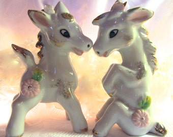 Cute White My Little Pony Pair Figurine Set 22 Kt. Gold and Pink Roses Ceramic