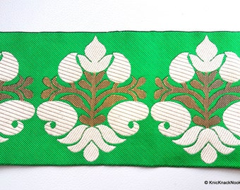 Green Fabric Trim With Beige And Gold Thread Embroidery, Approx. 10.3cm Wide - 140316L264B