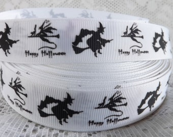 Witch ribbon 7/8 Halloween ribbon Witch Halloween ribbon Happy Halloween ribbon