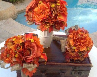 15 Piece Wedding flower package designed with fall theme flowers