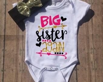 Big Sister Again Shirt | Big Sister to be Shirt | Promoted to Big Sister | Future Big Sister Tee | Pregnancy Announcement Shirt | Girls