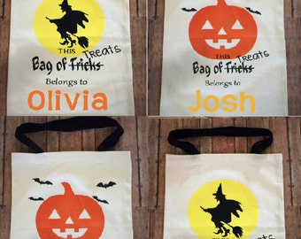 Personalized Trick or Treat Bag, Halloween Canvas Bag, Halloween Sack, Halloween Bucket, Candy Bag, Trick or Treat Sack, Witch Bag, Pumpkin