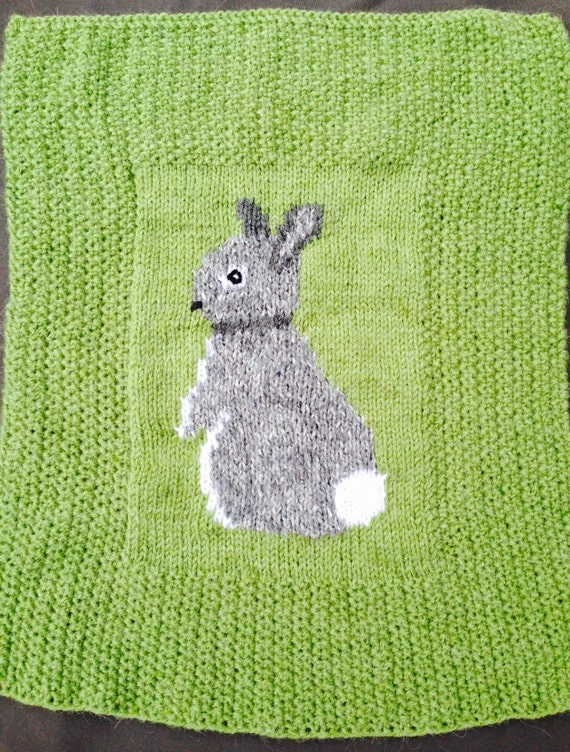 Knitting Needles Norwich : Rabbit baby blanket pram cover chunky knitting pattern