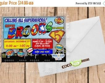 On Sale Super Hero Birthday Invitation - Comic Book -  5x7 Digital File