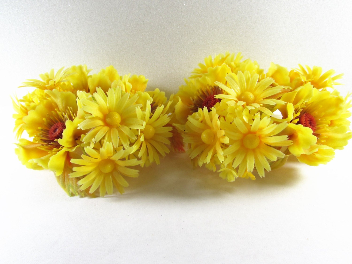 Yellow Flower Candle Rings Plastic Floral Arrangement Set of 2