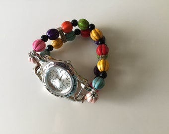 Watch Womens Multi Colored Double Stranded Beaded Watch Band Set (285)