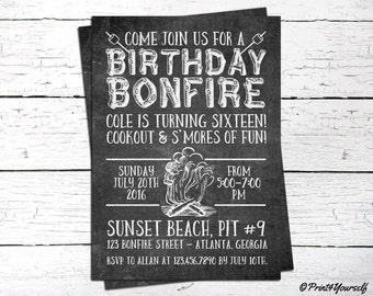Bonfire Invite // Personalized Printable Chalkboard Bonfire Birthday Invitation // Camping Invite // Bonfire Cookout Invite