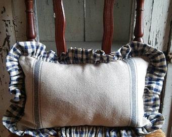 Tea Stained Blue 3 Stripe Grain Sack Pillow w/Homespun Ruffle