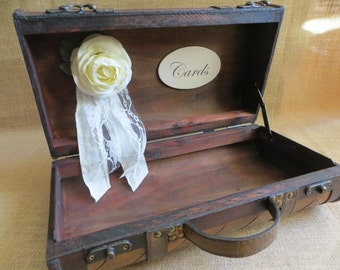 Small Rustic Brown Wedding Suitcase, Wedding Card Holder, Card Box, Money Holder,  Wedding Trunk, Rustic Wedding Box