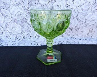 Vintage Green Glass FOSTORIA MOONSTONE Champagne / Sherbet Glass Thumbprint Glassware 1970's