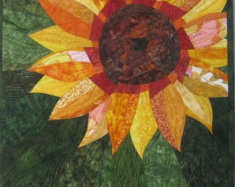 Art Quilt Sunflower 2, Quilted Wall Hanging