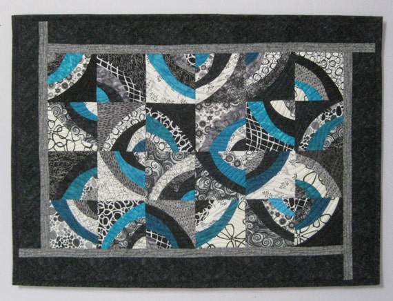Art Quilt Circles Black White Turquoise, Quilted Wall Hanging