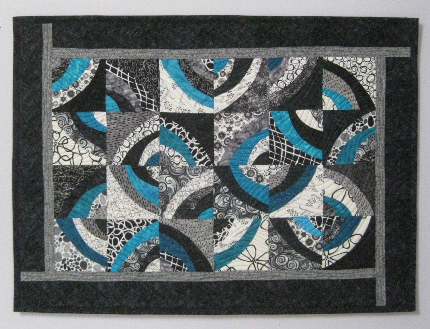 Art Quilt Circles Black White Turquoise Wall Quilt Quilted