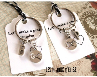Set of 2 Pinky Promise with Initial Keychains His and Hers Couple Keychains Friendship Keychains Valentine's Keychains - PI02
