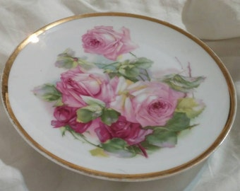 On Sale Bavaria China 7.5 inch Decorator Plate with Gold Trim Z S and C with Pink and Maroon Roses