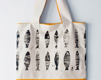 yellow sardine tote bag