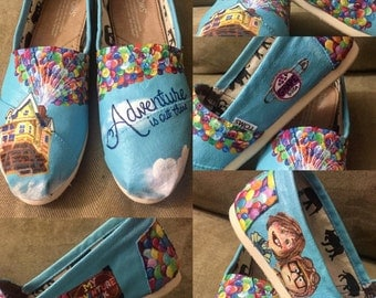 UP Toms. Handpainted Custom UP Shoes. Ellie & Carl. Adventures is out there. Disney Toms. Disney Shoes. Balloon Shoes. Pixar Toms.