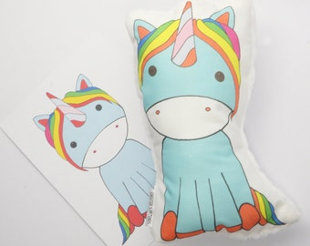 Unicorn, Unicorn plushy - Unicorn cushion - Unicorn Pillow - Unicorn print - Unicorn illustration - Unicorn gift set