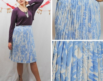 Blue and White Pleated Water Color Skirt