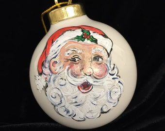 Santa Claus, Hand Painted, Christmas Ornament, Ceramic Ornaments, First Christmas