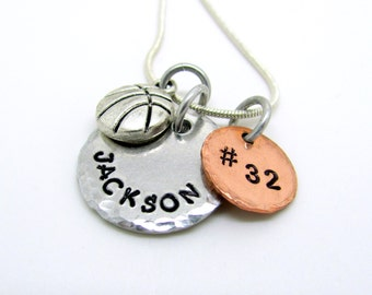 Hand Stamped Personalized Basketball Necklace, Name, Number, Basketball Charm