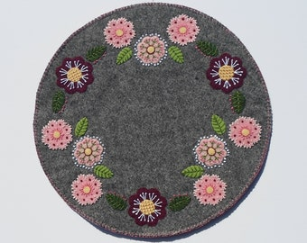 Handmade Felted Wool Candlemat Pink & Gray