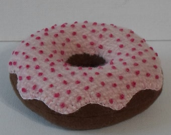 Handmade Felted Wool Chocolate Donut Pincushion