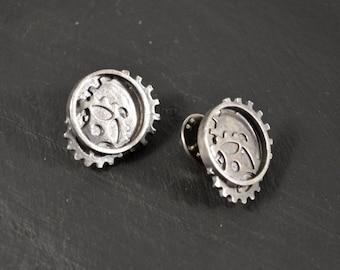 Gears pin in sterling silver, bronze or brass