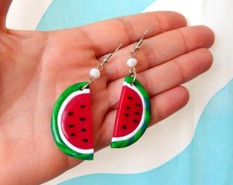 Watermelon Earrings -  Fruit Earrings - Summer Polymer Earrings