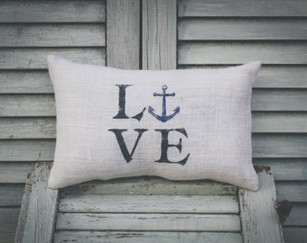 Love - Anchor Decorative Pillow Decor Pillow Sailing Pillow Summer Pillow burlap pillow fabric pillow 14x9 accent pillow
