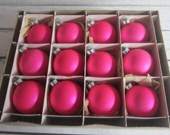 Vintage Box Franke Ornaments Bright Matte Pink Vintage Glass Ornaments Vintage Christmas Ornaments