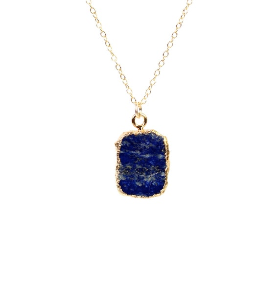 Gold lapis necklace - stone necklace - september birthstone - something blue - a gold lined lapis lazuli on a 14k gold vermeil chain