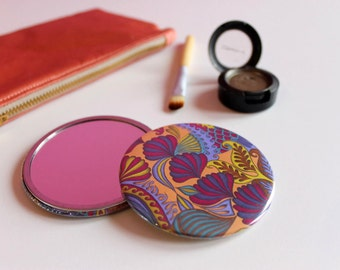 Girly Patterned Pocket Mirror, Round Handbag Mirror, Colourful Pocket Mirror, Patterned Travel Mirror, Peach Compact Mirror,