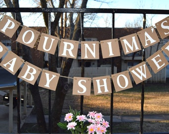 Baby Shower Banner  WELCOME BABY - Photo Prop Custom Name Baby Shower Decor