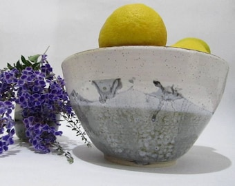 Large Pottery Bowl, Serving Bowl, Salad Bowl, Fruit Bowl, Handmade Ceramics in Grey and White