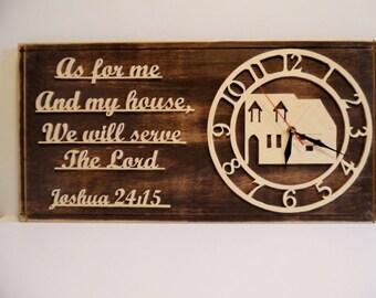 Distressed Dark Bible Verse Clock