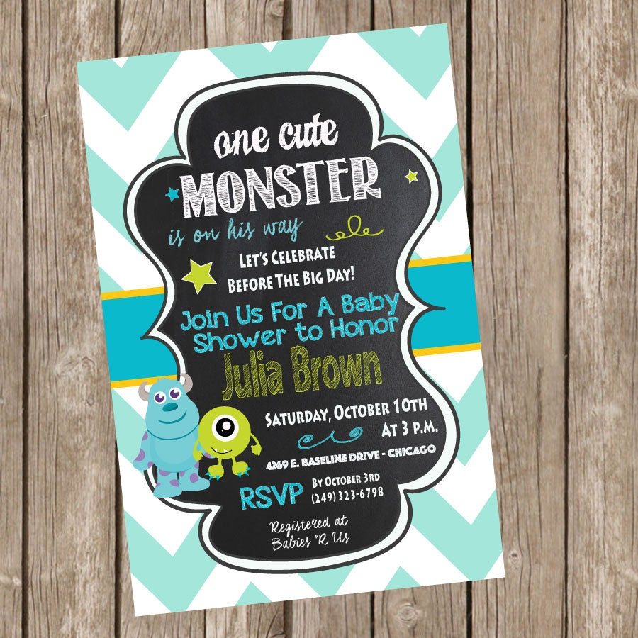 monsters inc baby shower invitation baby by trishatreedesigns
