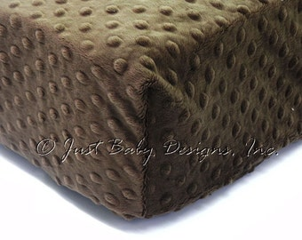 Fitted Crib Sheet - Minky Dot Brown
