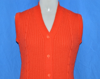 70s Red Vintage Cable Knit Sweater Vest Women's Small - Medium