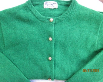 Kelly Green Geelong Lambswool Sweater--Size 36, 1960s