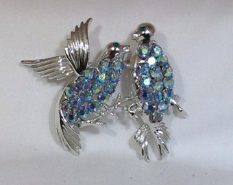 Love Birds Vintage Brooch