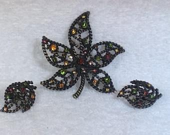 Leaf Brooch and Earrings