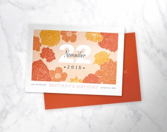 FLORAL   |  modern floral birthday or party invitation