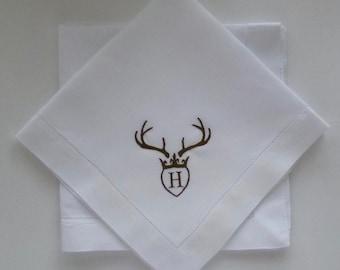 4 Made to Order Hemstitched Monogrammed Antler Dinner Napkins