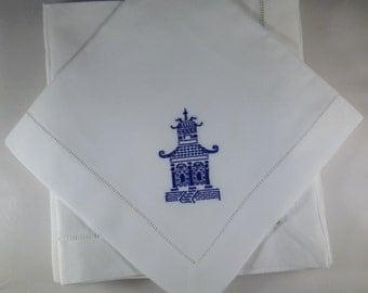 Custom 4 Linen Cotton Blend Dinner Napkins Navy Blue
