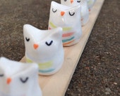 Owl Figurines with Stripes for plants and fairy gardens